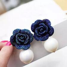 1Pc Fashion Lady Blue Rose Flower Ear Stud Dangle Pearl Earrings Jewelry Gift
