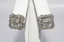 $1,800 .60CT NATURAL ROUND CUT DIAMOND CLUSTER BOX OMEGA BACK EARRINGS 14K GOLD