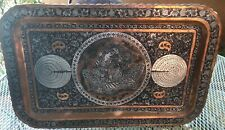 Vintage Large Persian Silver & Copper Hand Made Figures Rectangular Tray