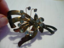 Old Sterling Brooch W/Blue Glass Stones