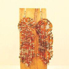 "3"" Orange Gold Multi Color Long Handmade Dangle Seed Bead Hook Earring"
