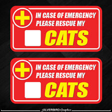 2x Cat Pet Rescue Sticker Emergency Fire Safety Safe Caution Warning Pets Dog
