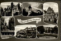 Altensteig Schwarzwald Mehrbildkarte 1962 Brunnen Kirche Totale Fachwerkhaus
