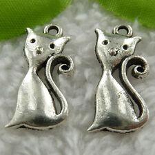 Free Ship 110 pcs tibet silver cat charms 25x13mm #551