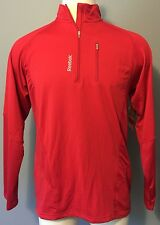 Reebok Mens Poly Fleece Pullover Sweatshirt Sport Athletic Slim Red ~ Large L