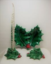 1960s Christmas Holly & Berry Candy Dish & Candle Holders Handmade Ceramic Set