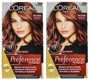 2 x LOREAL PARIS PREFERENCE HAIR COLOUR BALAYAGE LIGHT BROWN TO BROWN HAIR NEW