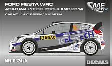 DECALS 1/24 FORD FIESTA WRC - #14 BREEN - RALLYE ADAC ALLEMAGNE 2014 - DC2425