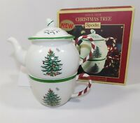 NEW SPODE Christmas Tree Peppermint TEA FOR ONE 3 Piece Teapot Lid & Cup
