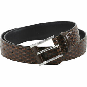Stacy Adams Men's Basket Weave Embossed Genuine Leather Belt