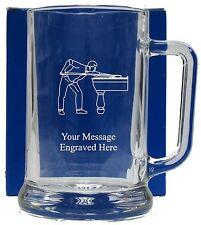 Personalised Snooker Pool Pint Glass Tankard Birthday Free Gift Box GT8
