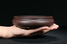 Dark Red Round Chinese Yixing Zisha Shohin Bonsai Pot 15x15x4cm