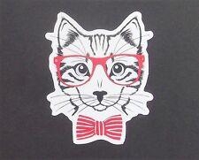 Cat in Glasses Vinyl Sticker - iPad iPhone Skateboard Folder Neko Kawaii
