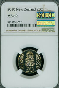 2010 NEW ZEALAND 20 CENTS NGC MS-69 MAC FINEST GRADE SPOTLESS .2,000 MINTED