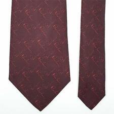 BURBERRY LONDON TIE Hand Script on Dark Red Classic Woven Silk Necktie