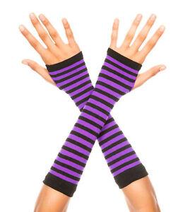 sexy MUSIC LEGS striped MID-ARM length STRIPES fingerless GLOVES punk GOTH rock