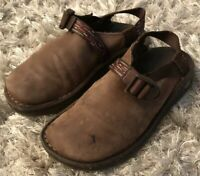 Chaco Womens Brown Suede Leather ToeCoop Close Toe Clogs Vibram Sole Shoes 7