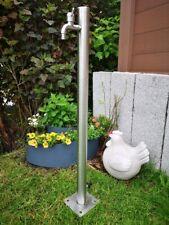 98 cm Wassersäule Edelstahl Rund Zapfstelle Garten Wasserstelle Wasserzapfstelle