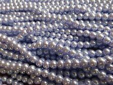 1 Strand (140 Beads) 6mm Lavender Blue Glass Pearl Beads Faux Imitation Pearls