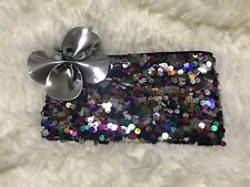 """MAC Cosmetics Shiny Pretty Things Multi-color Sequin Make Up Bag 4""""x8"""" Promotion"""