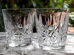 Waterford Crystal Rosslare Whiskey Tumbler Pair Old Fashioned Vintage Ireland