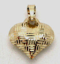 14K Yellow Gold  Plaid Textured Diamond cut Puffed Heart  Charm pendant 3D
