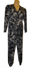 BNWT size XL   ANTTHONY STUDIO Black & White Paisley Jumpsuit with Pockets