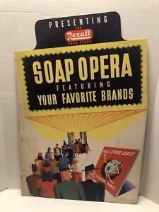 1940s REXALL DRUG CARDBOARD COUNTERTOP Advertising PHARMACY Deco Opera Theme