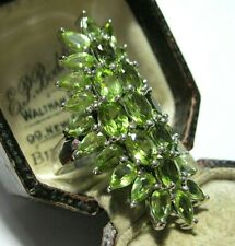 Stone Ring Jewellery Size P 7.5 Huge Sterling Solid Silver Real Peridot Gem