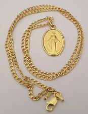 14K Real Yellow Gold Virgin Mary Guadalupe Charm Pendant 18 Inch Cuban Chain
