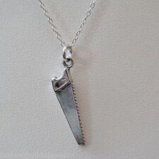 Saw Necklace - 925 Sterling Silver - Saw Charm Tool Handy Man Jewelry Hand Saw