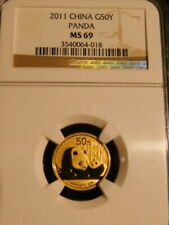 2011 CHINESE PANDA  1/10oz GOLD COIN 50Y NGC MS69