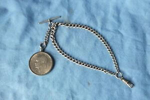 ANTIQUE DOUBLE ALBERT SILVER  WATCH CHAIN WITH LIBERTY FOB