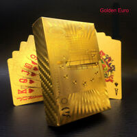 54 Gold Foil Plated Playing Poker Cards 24K PVC Waterproof Table Game EUR