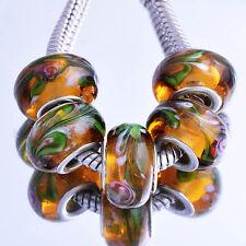 5pcs Brown Lampwork Green Stripe Murano Glass European Bead Fit Charm Bracelet