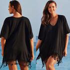 Women Tassel Loose Bikini Cover Up Batwing Kaftan Summer Beach Casual Mini Dress