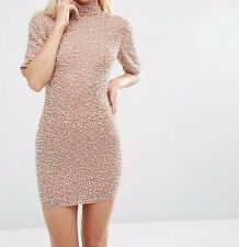 Branded Pearl Embellished Scatter Mini Bodycon Dress in Nude UK 12/EU 40/US 8