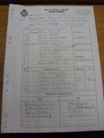 02/10/1999 The Football League Team Sheet: Cheltenham Town v Rotherham United (C