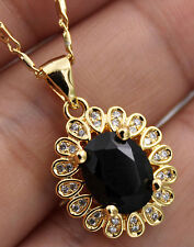 18K Yellow Gold Filled - 8*10MM Black Onyx Oval Topaz Flower Pendant Necklace