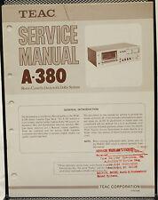 Original TEAC A-380 Stereo Cassette Deck Service Manual