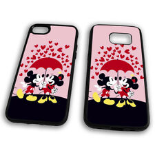 Mickey And Minnie Mouse Kissing Umbrella Raining Hearts Cartoon Phone Case Cover