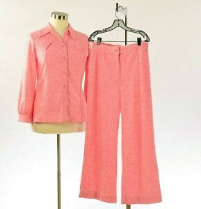 70s Vintage Womens 14 Pastel Marled Red & White Pant Suit