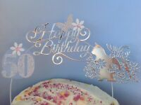 Kitten Silver Birthday Cake Decoration Glitter Topper Arch flowers Any age pet