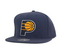 Indiana Pacers NBA Mitchell & Ness Solid Wool XL Logo Navy Snapback Hat Cap