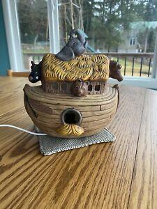 "Ceramic Baby Lamp Noahs Ark Night Light Hand Painted Table Light 7"" Nursery"