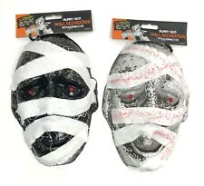 Halloween Mummy Head Wall Decoration Scary With Red Led Light Up Eyes Party