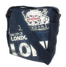 Robin Ruth Canvas Shoulder Bag Navy Blue Multicoloured London City Emblem