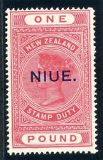 Niue 1928 QV £1 rose-pink MLH. SG 37c.