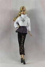 6in1 Fashion clothes/outfit Top+skirt+tights+necklace+shoes+bag For Barbie Doll