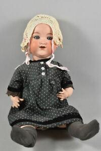 k49l18- Alte Armand Marseille Porzellankopf Puppe, Schlafaugen, Massekörper